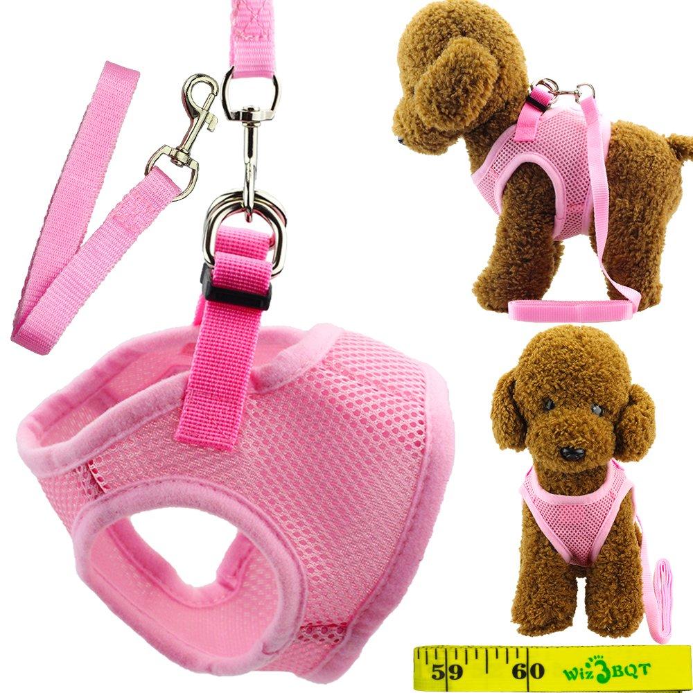 Wiz BBQT Soft Adjustable Mesh Dog Puppy Cat Pet Vest Harness and Leash Set for Dogs Cats Pets (A, Pink)