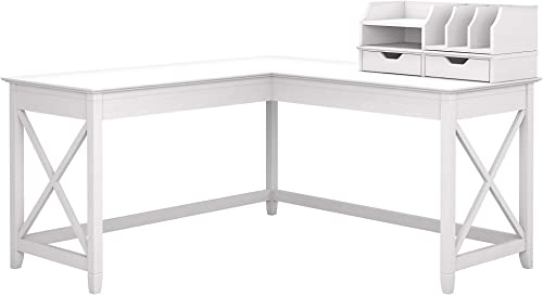 Bush Furniture Key West 60W L Shaped Desk with Desktop Organizers, Pure White Oak