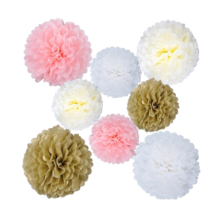 Rubikliss 30 Pcs Tissue Paper Pom Poms Flowers Tissue Tassel Garland Polka Dot Paper Garland Kit for Wedding Party Decorations