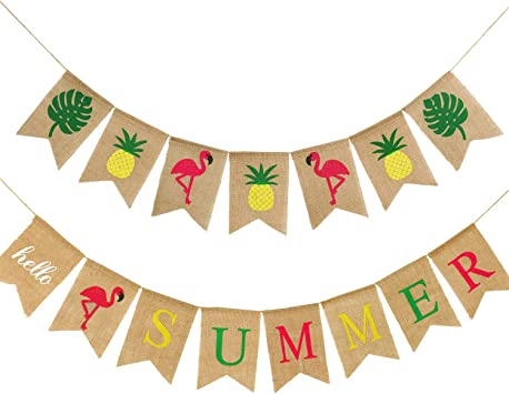 Flamingo Pineapple Leaves Garland Bunting Banner Summer Party Home Decorations
