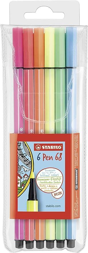 Rotulador STABILO Pen 68 - Estuche con 6 colores neón: Amazon.es: Oficina y papelería