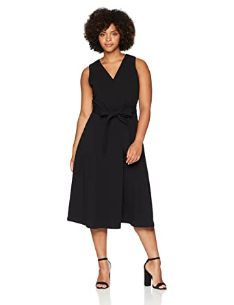 0e769fba9b Calvin Klein Women s Plus Size Sleeveless V Neck Midi Dress with Self Sash  Waist at Amazon Women s Clothing store