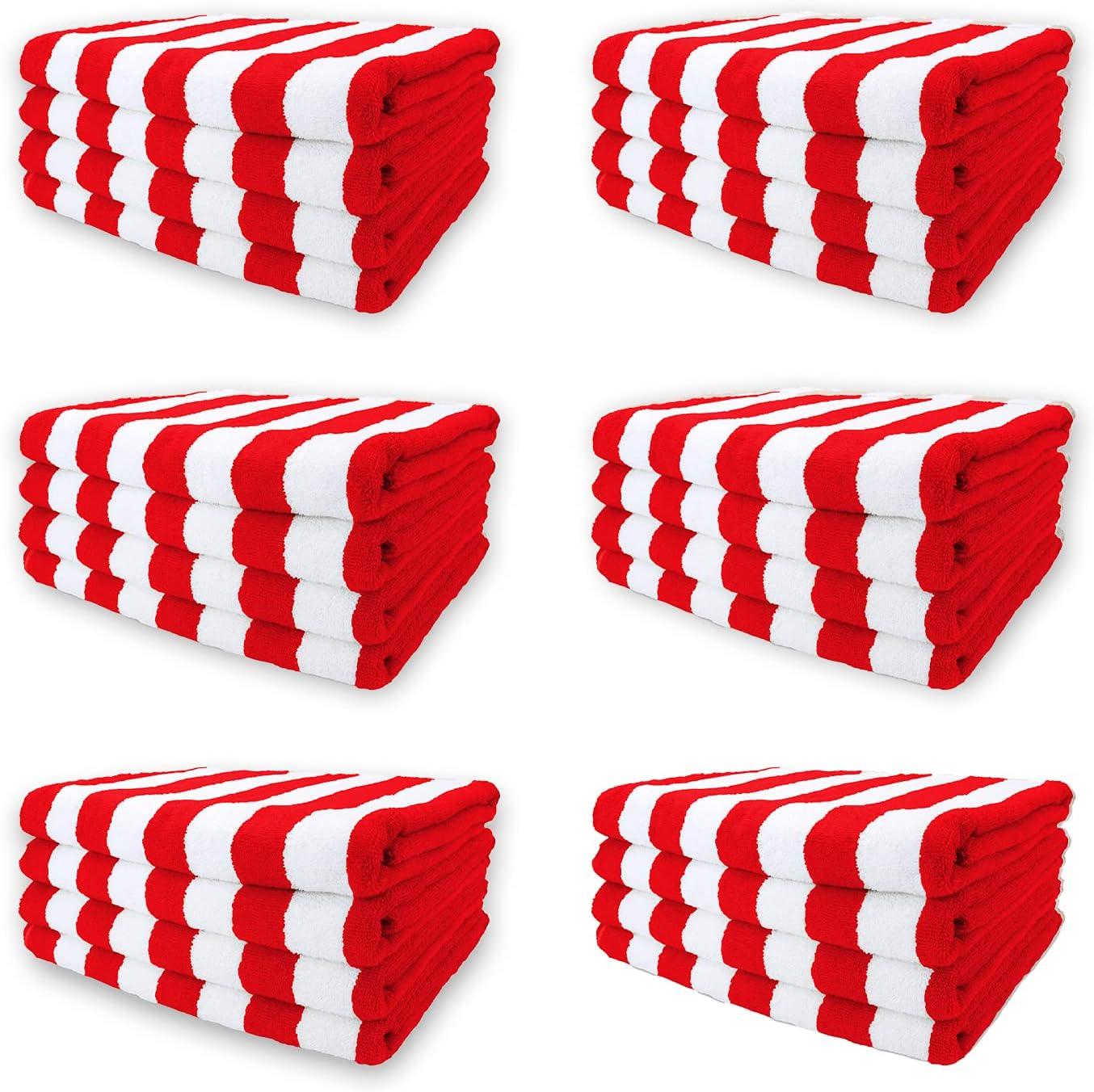 Arkwright Oversized Beach Towels (35x70, 24 Bulk Case), Ringspun Cotton Double Yarn Strength, California Cabana Beach Towel, Pool Towel, Bath Towel (Red)