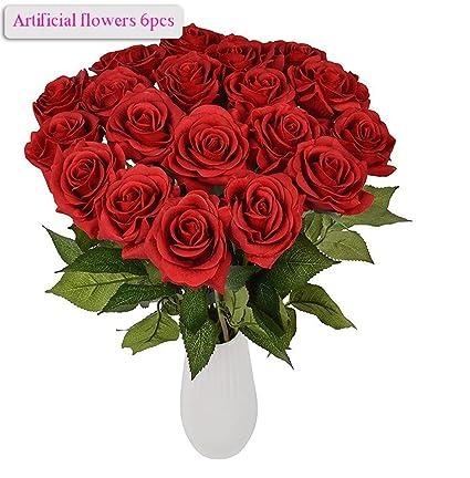 Amazon artificial flowers meiwo 8pcs round roses full bloom artificial flowers meiwo 8pcs round roses full bloom artificial silk real touch flowers for home mightylinksfo