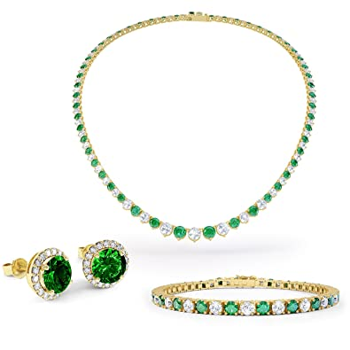 Eternity Emerald and Diamond Silver Jewellery Set (YELLOW GOLD)