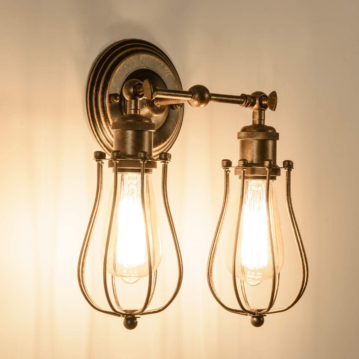 Bronze Bulb Not Included Indoor Industrial Lights Fixture Adjustable Antique Vintage One Edison Bulb Wall Lamp GLADFRESIT Wire Cage Wall Sconce Rustic Lighting