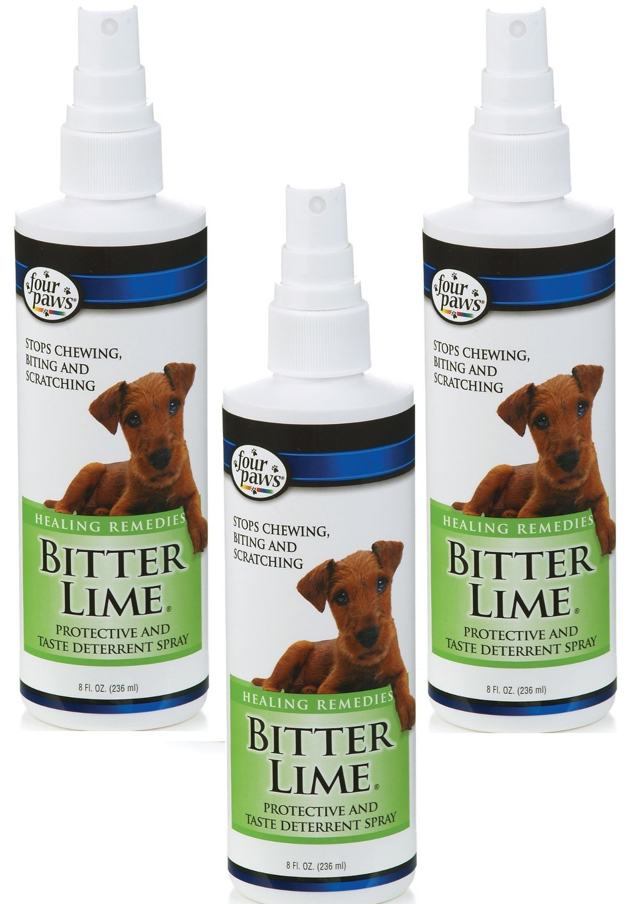 (3 Pack) Four-Paws 8 Ounce Bitter Lime Cat and Dog Spray