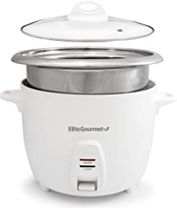 Elite Gourmet ERC2010B Electric Rice Cooker with Stainless Steel Inner Pot Makes Soups, Stews, Grains, Cereals, Keep Warm Feature, 10 cups cooked (5 Cups uncooked), White,ERC-2010