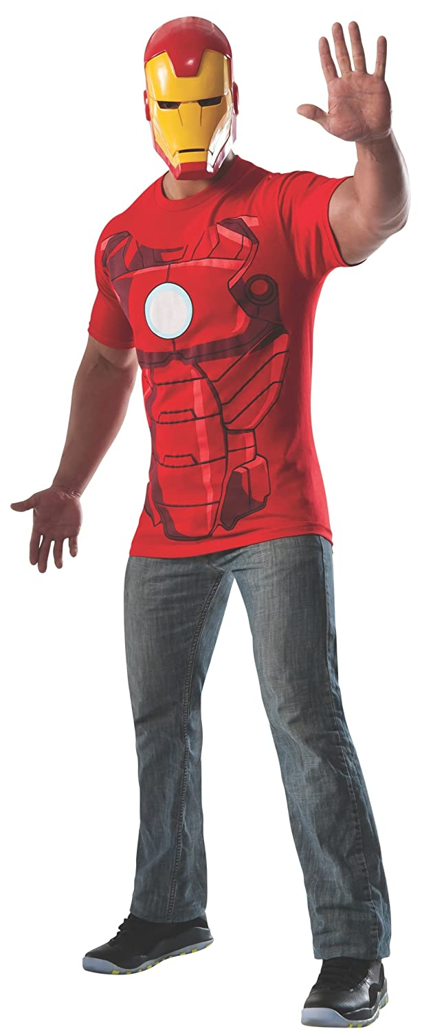 Marvel Rubie's Costume Men's Universe Iron Man Costume T-Shirt and Eye Mask Multi X-Large Rubies Costumes - Apparel 820024-XL