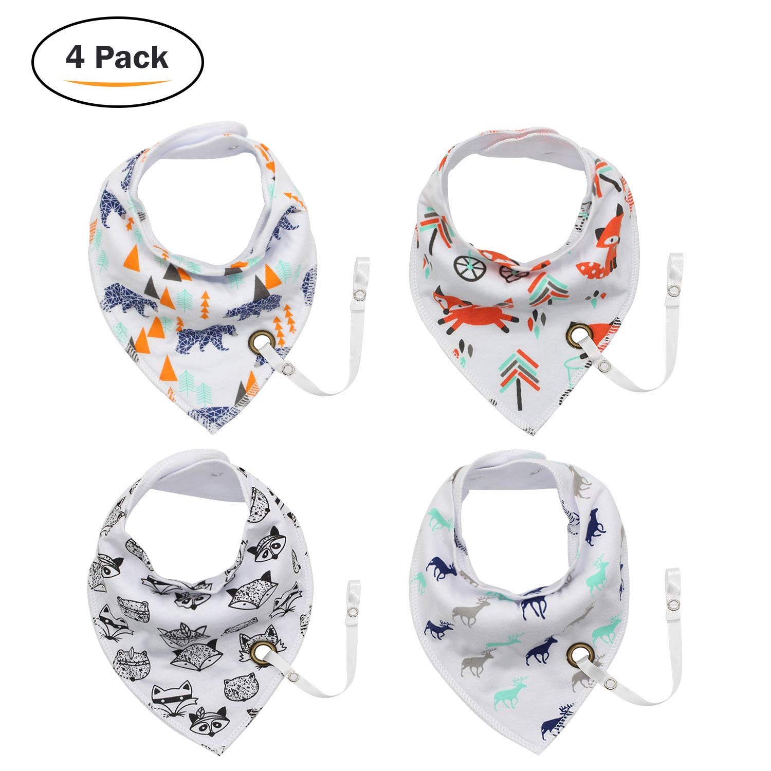 Baby Dribble Bib - Bandana Dribble Bibs Boys, Bandana Drool Bibs For Toddlers, Super Absorbent Soft Cute Bibs Girls, Ideal New Baby Gift With 2 Adjustable Snaps - 8PCS Kordear
