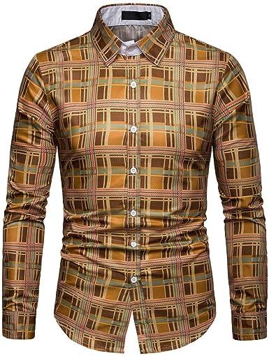 Camisa de Hombre, Internet_Camisa de Manga Larga con Estampado de Tela Escocesa Casual para Hombres de Negocios(Amarillo M-3XL): Amazon.es: Ropa y accesorios