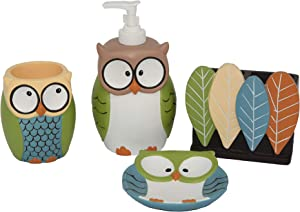 Wodlo - Cute Owl Bathroom Accessories Set - Complete Bath Accessory Sets Includes Soap Dispenser, Toothbrush Holder, Tumbler, Soap Dish,