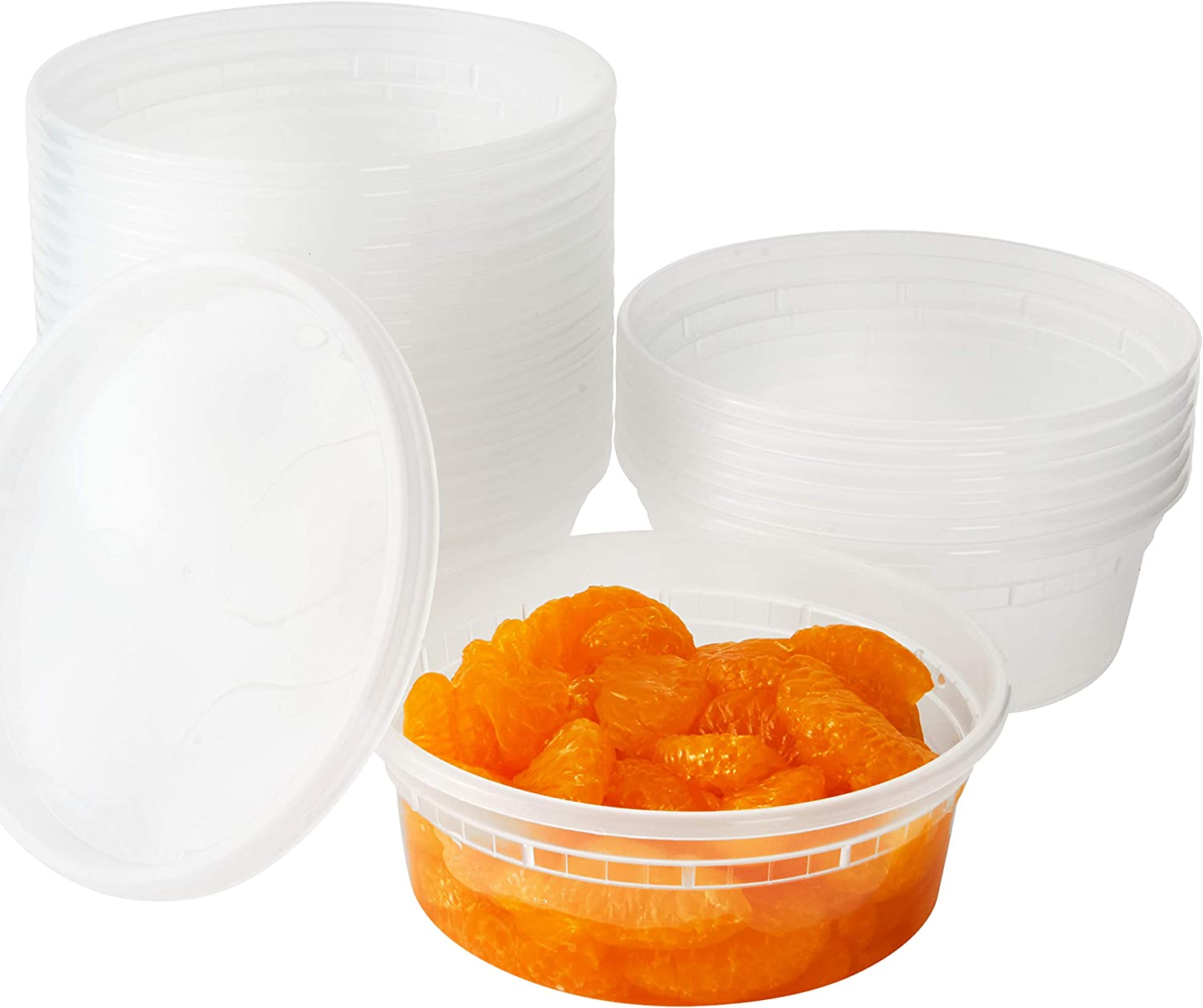 Deli Grade, BPA Free 8oz Plastic Containers with Lids, 24ct. Leakproof, Microwavable Portion Container for To-Go Orders, Food Prep and Storage. Reusable Takeout Cups for Restaurant, Cafe and Catering