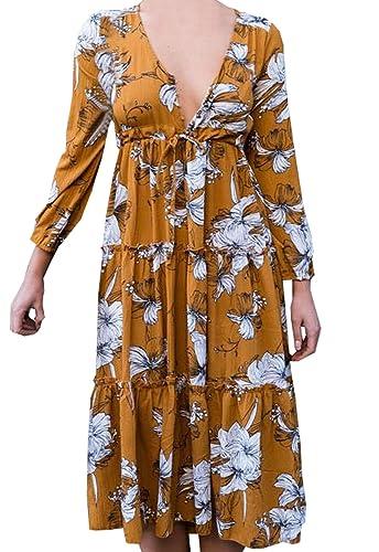 Vestiti a fiori Donna Vestito a Pieghe Abiti a Maniche Lunghe V Collo Abito da Spiaggia Vestitini media lunghezza da Cerimonia Partito Festa Vacanza