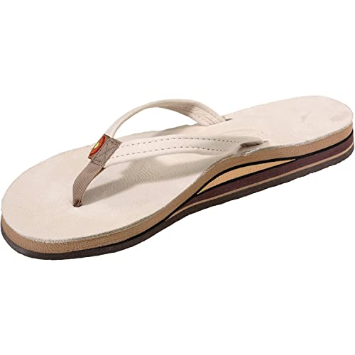 Rainbow Sandals Women Premium Leather Narrow Strap Double Layer, Sand, Small  (5.5-