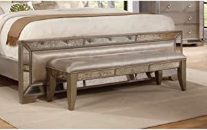 Best Master Furniture Ava Mirrored Upholstered Bed Bench, Silver/Bronze