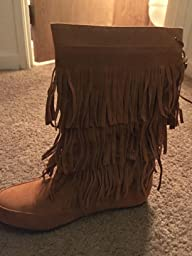 Amazon.com | West Blvd Women's Fringed Tassel Faux Suede Moccasin ...