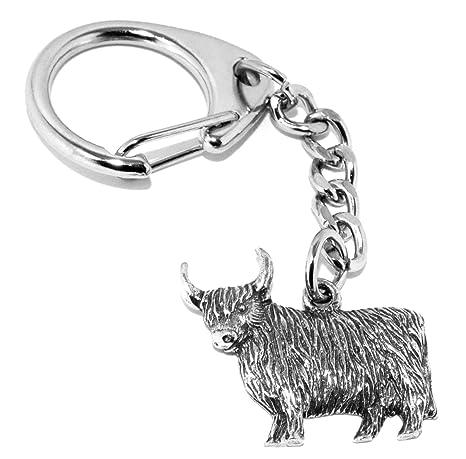 Vaca de las tierras altas de Escocia peltre llavero (viene ...