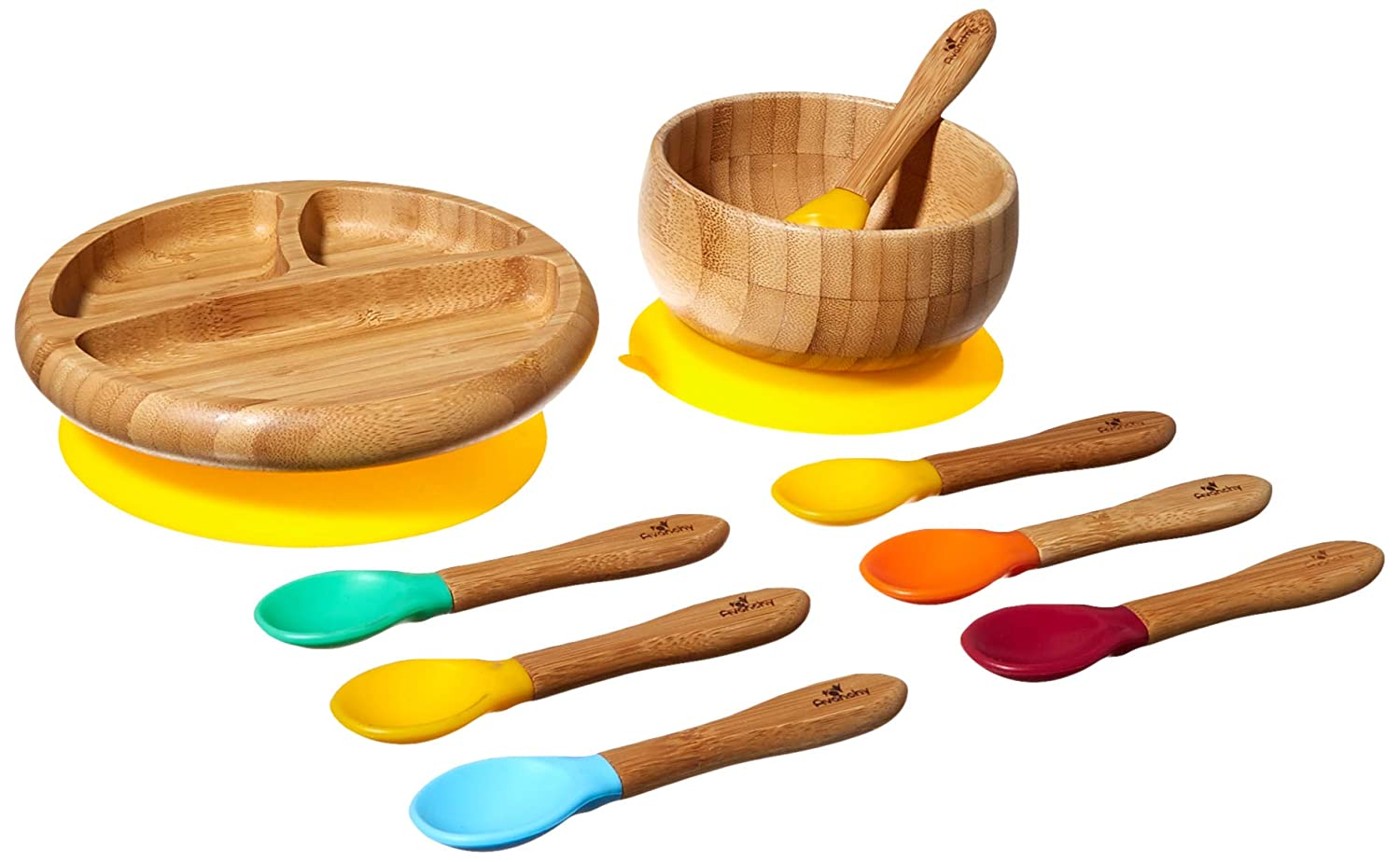 Avanchy Baby Feeding Bamboo Spill Proof Stay Put Suction Bowl + Baby Spoon - Great Baby Gift Set, Green 12493922