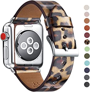 WFEAGL Compatible iWatch Band 38mm 40mm, Top Grain Leather Band Replacement Strap for iWatch Series 5,Series 4,Series 3,Series 2,Series 1,Sport, Edition (Leopard Band+Silver Connector, 38mm 40mm)
