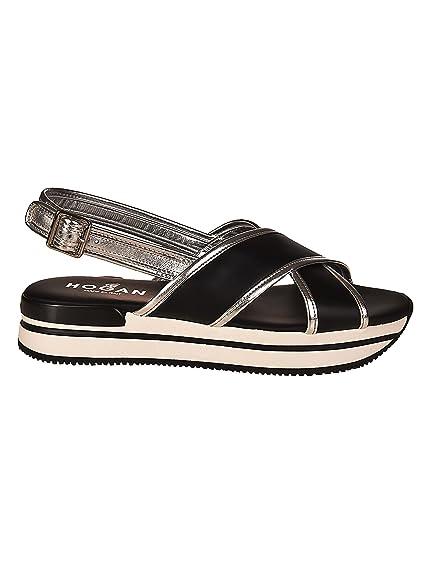 Hogan H257 Crisscross Black Sandals Nero Donna  Amazon.co.uk  Shoes ... 7eb9558f695