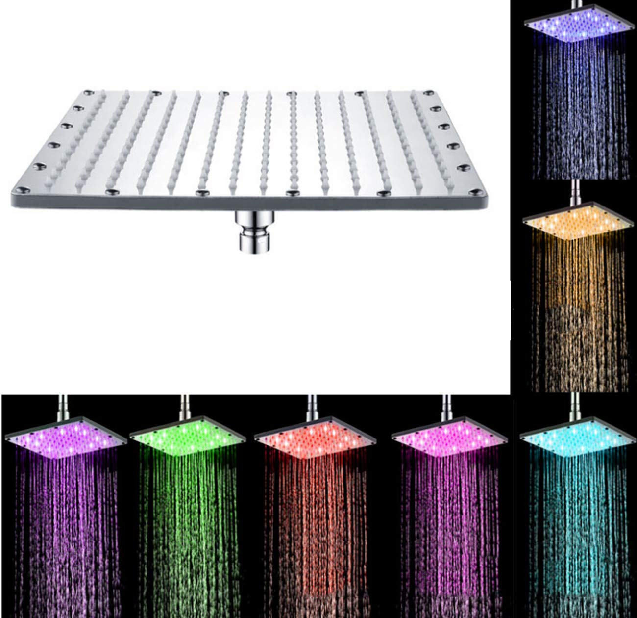 10inch LED Shower Head,7 Colours Changing Square Shower Head Water Flow Powered 8-Inch 10-Inch 12-Inch For Bathroom,8inch