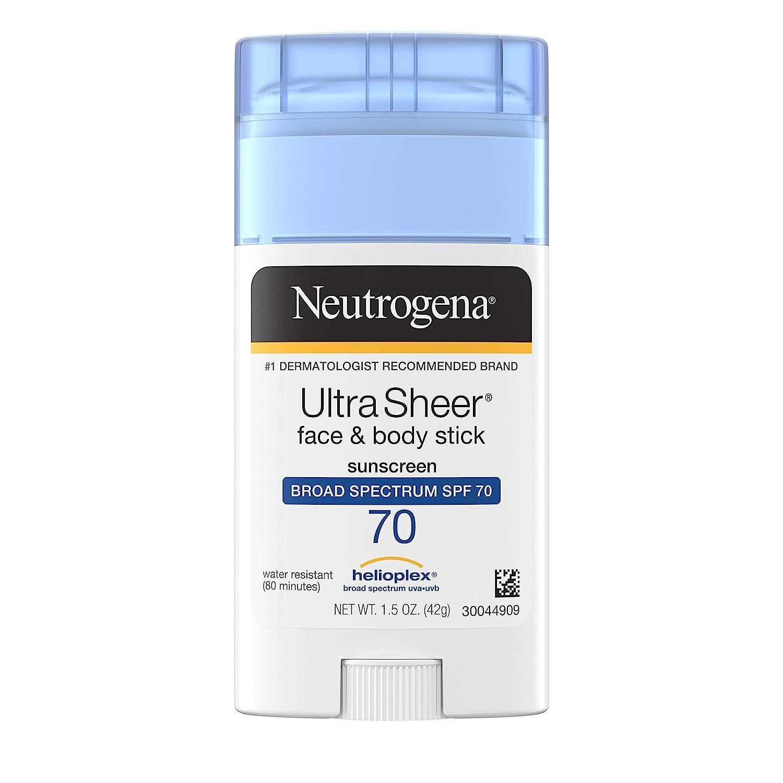 Neutrogena Ultra Sheer Non-Greasy Sunscreen Stick for Face & Body, Broad Spectrum SPF 70 UVA/UVB Sunscreen Stick, PABA-Free, 1.5 oz: Beauty