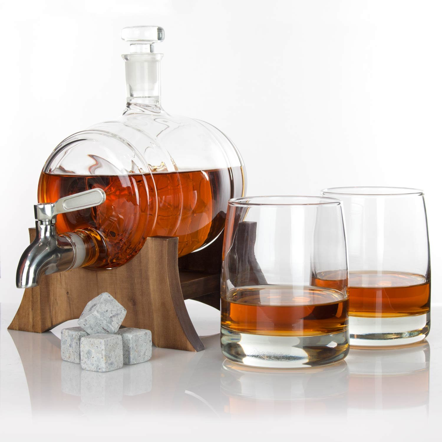 Atterstone Barrel Whiskey Decanter Set / Full set with two Whiskey Glasses, Custom Decanter Stand, Whiskey Stone Set, Stainless Steel Dispenser and funnel