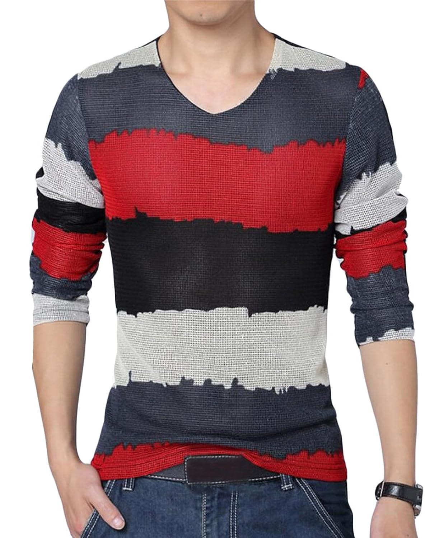 XTX Mens Slim Spell Color Long-sleeved T-shirts