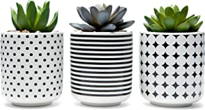 Mini Artificial Succulent Plants Potted - Set of 3 Artificial Plants in Ceramic Pots Fake Succulent Plants Kitchen Office Bathroom Desk Bedroom Home Decor Fake Plants Faux Succulents Decorative Plant