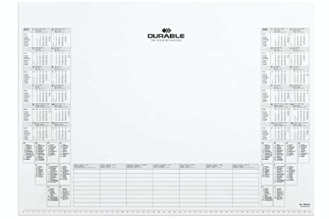 Calendario Nazionali.Durable 729202 Blocco Appunti Con Calendario 24 Mesi Visualizzazione Delle Festivita Nazionali Di 9 Paesi 25 Fogli 570x410 Mm Bianco