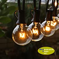 Outdoor String Lights, G40 Outdoor String Light Bulbs Listed, Waterproof String Lights, For Indoor & Outdoor Décor, Wedding Light, Backyard Light,25ft(7.62M).By Home Impression (UK-Stardard)Perfect for Patio, Cafe, Garden, Festoon Party Decoration(25 Bulbs + 3 Spare Bulbs + 3 Fuse)