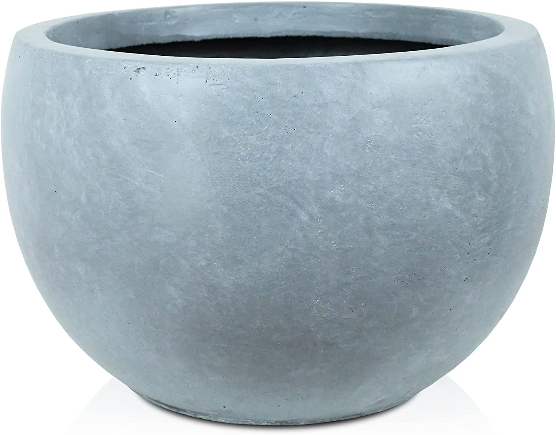 Kante RC0049C-C60611 Lightweight Concrete Outdoor Round Bowl Planter, Slate Gray