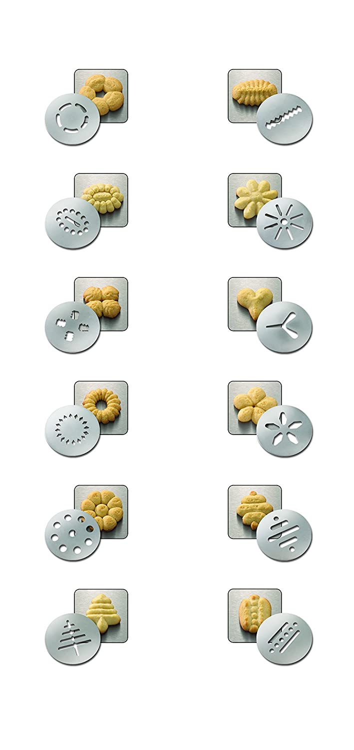 5 x 5 x 22 cm Stainless Steel Dr.Oetker Cookie Press Profi with 12 Moulds 22cm in Silver-Black