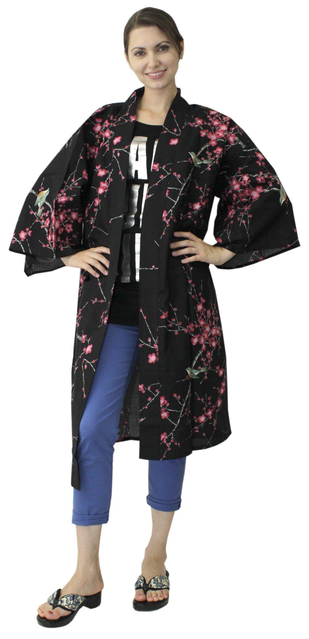 Japanese Women's Kimono Robe Happi Coat Dress Cotton Bird Plum Black