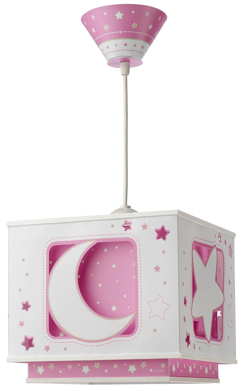 Dalber lustre carré plastique   lune/etoiles   rose: amazon.fr ...