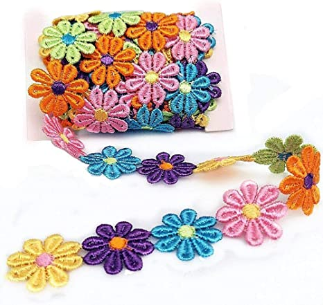 YEQIN 3 Yard Daisy Flower Sun Flower Decorating Lace and Trims for Sewing and Craft Projects style7