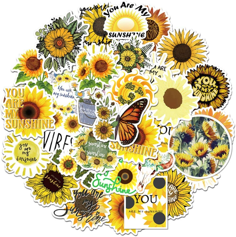 Sunflower Stickers 50 Pcs, Vinyl Waterproof Decals for Hydroflasks, Cute Sunshine VSCO Stickers for Laptop Computers Walls Phone Case, Yellow Floral Decals for Women Men Boys Girls