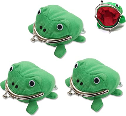 3 Pcs Anime Cute Plush Green Frog Coin Purse Wallet, Cosplay Props Plush Toy Change Pouch Wallet Small Money Bag Cartoon Plush Frog Coin Bag for Kids Cosplay Lovers