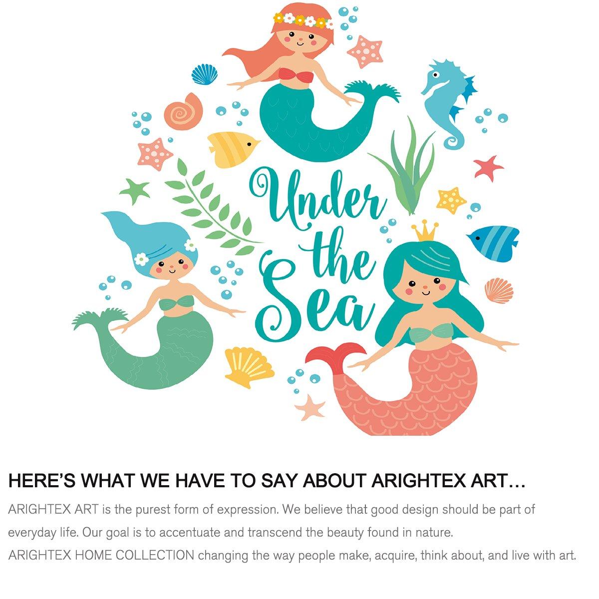 50 x 60 Inches Arightex Mermaid Print Blanket Girls Fleece Throw Blanket Under The Sea Soft Blanket Teal Kids Sherpa Blanket