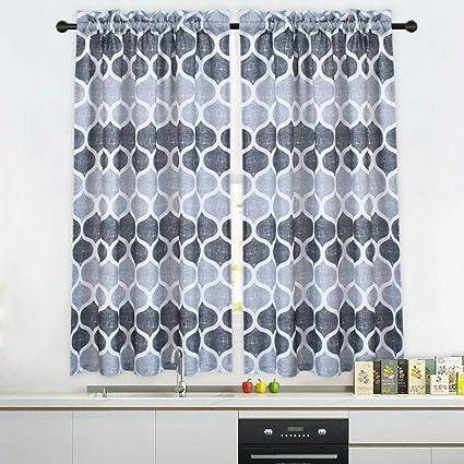Cafe Curtains In Living Room.Haperlare Grey Moroccan Tier Curtains For Living Room Lattice Pattern Short Bathroom Window Curtain Trellis Design Half Window Kitchen Cafe
