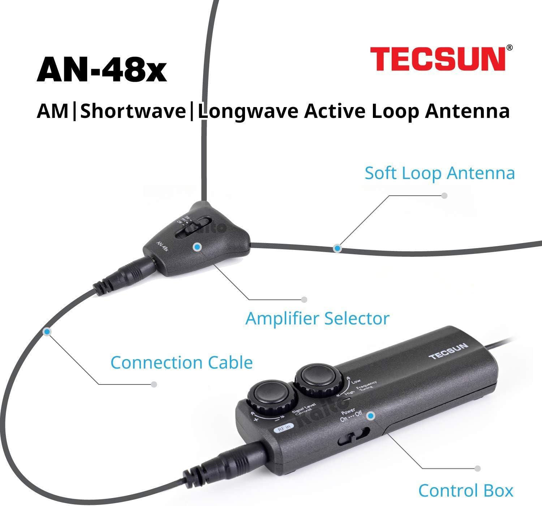 Tecsun AN-48X Antena de radio AM/LW/SW para interiores
