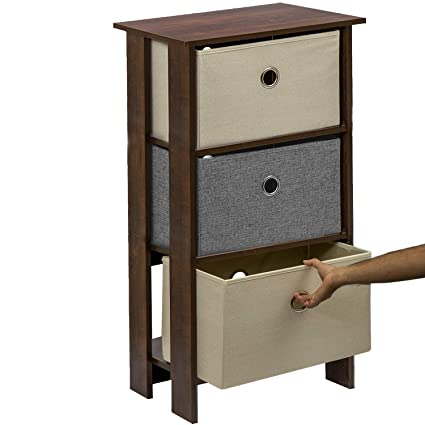 Klaxon Protea Wooden Table Storage Cabinet with 3 Fabric Drawer Chest - Walnut with Grey & Cream