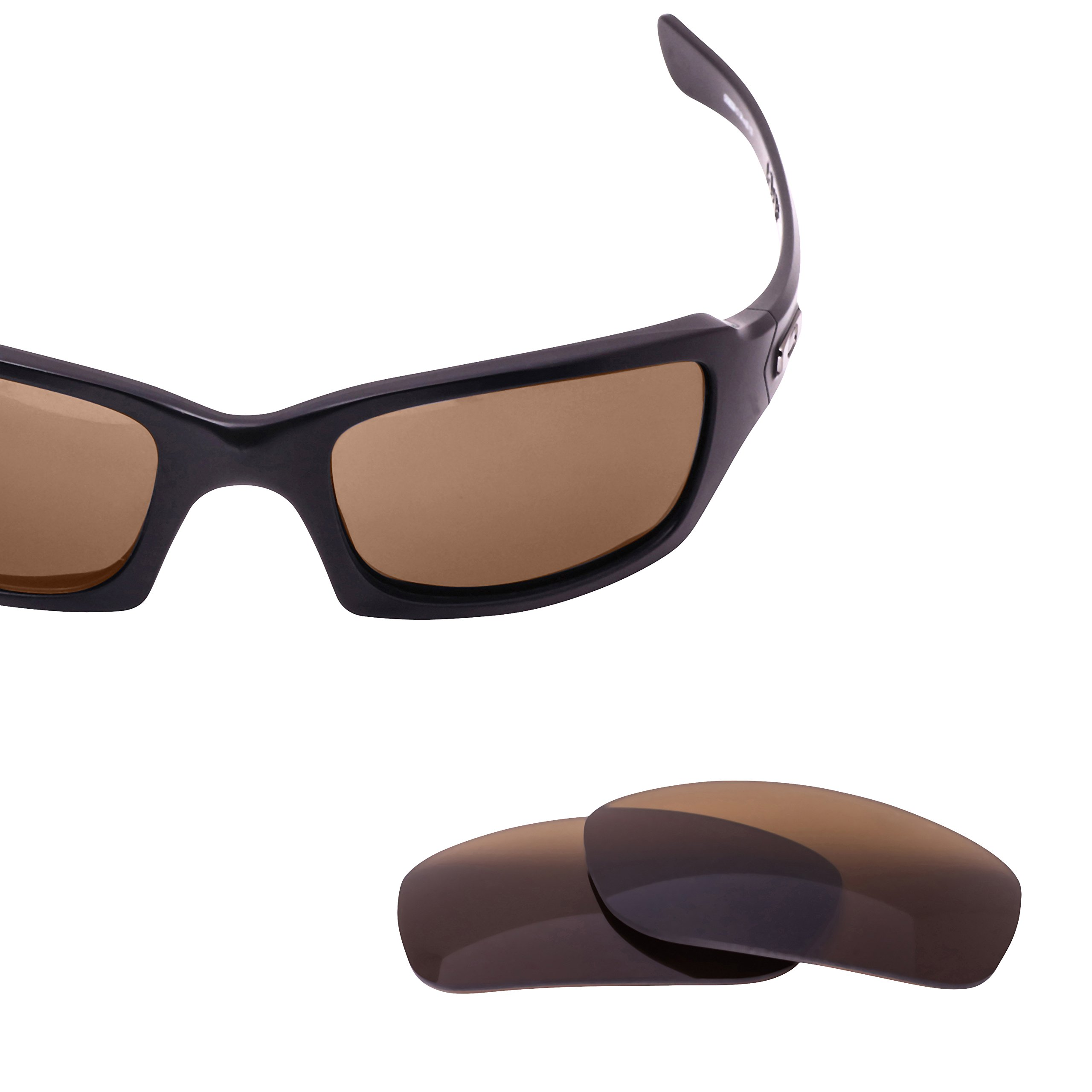 LenzFlip Replacement Lenses for Oakley FIVES Squared Sunglass Frame - Brown Polarized Lenses