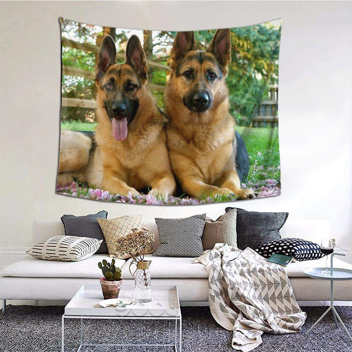 German Shepherd Dog Tapestry Wall Hanging, Art Decor Home Decoration for Living Room Bedroom Children's Room Apartment Dorm 60 X 51 Inches