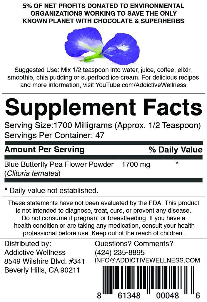 Amazon.com: Addictive Wellness Blue Butterfly Pea Flower Powder 80 ...