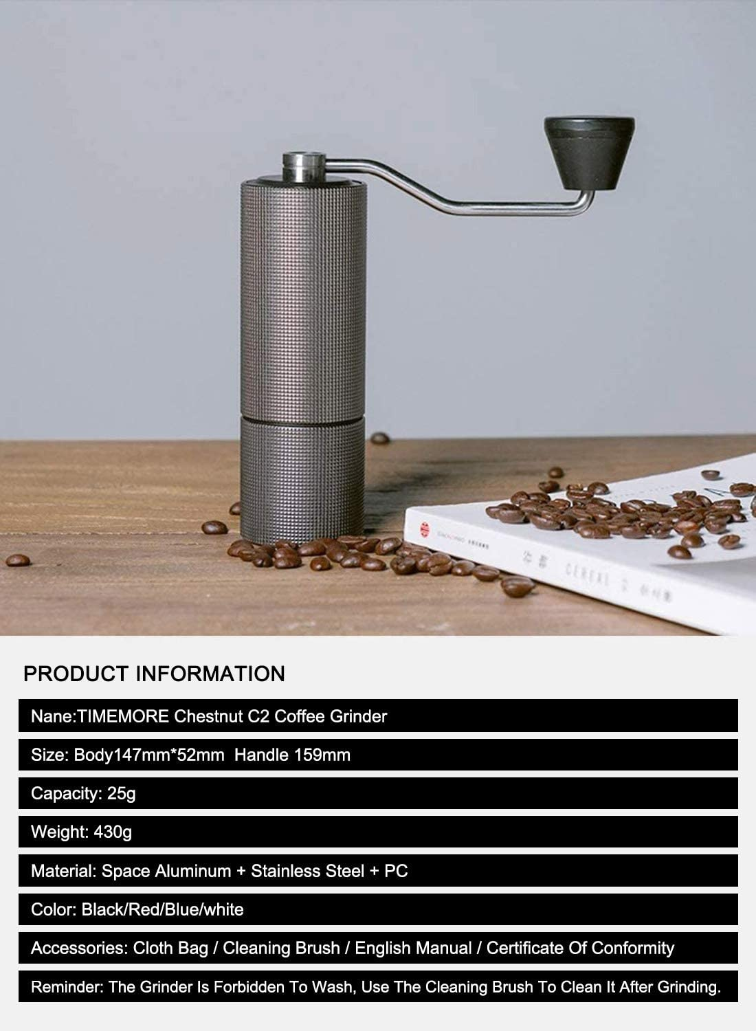 Internal Adjustable Setting,Double Bearing Positioning,French Press Coffee for Hand Grinder Gift TIMEMORE Chestnut C2 Manual Coffee Grinder Capacity 25g with CNC Stainless Steel Conical Burr