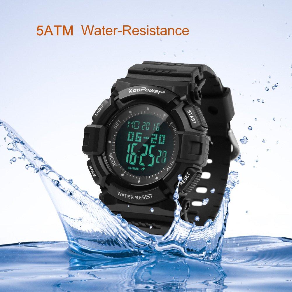 KooPower Mens Sport Watch - 165ft Waterproof Outdoor Multifunctional  Digital Electronic Watch Black