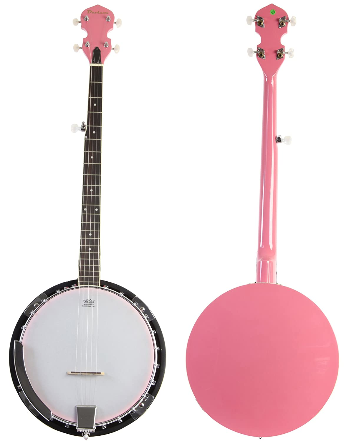 Pink 5 String Jameson Banjo with Geared 5th Tuner & Closed Back Jameson Guitars BJ005 PNK