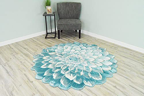 Flowers 3D Effect Hand Carved Thick Artistic Floral Flower Rose Botanical Shape Area Rug Design 303 Blue 6 6 x6 6 Round
